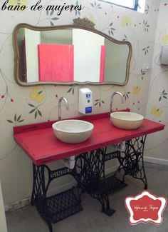Recycle dresser mirror for use in the bathroom. Paint frame a complementary color. Use a tri-fold mirror.