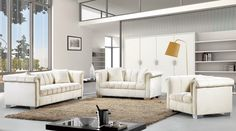 Meridian Furniture - Cream Bowery Sofa Set-  Your SUMMER will never end with a living room like this! Serenity will over take any stress in your life. This Bowery Sofa and Arm Chair are stylish and comfortable, perfect for those stressful days!