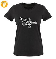 Comedy Shirts - Keep spinnin' - FIDGET SPINNER - Damen T-Shirt - Schwarz / Weiss Gr. M - Fidget spinner (*Partner-Link)