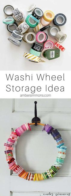 The Simple Washi Wheel is part of Craft Organization Scrapbook - The Simple DIY Washi Wheel is the easiest way to organize and store your washi tape so that you can see all the pretty patterns Ribbon Organization, Scrapbook Organization, Craft Organization, Ribbon Storage, Planner Organization, Organization Quotes, Household Organization, Washi Tape Storage, Washi Tape Crafts