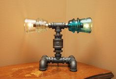 industrial+pipe+jewelry+display   Industrial Style Pipe Lamp with Multi-Color Glass Insulators and Flip ...