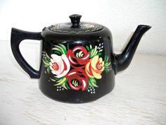 narrowboat black teapot - vintage toleware metal kettle - original hand painted tole roses - ornate shabby cottage chic tea pot by shesitsbytheseashore on Etsy
