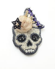 Beaded Skull Fascinator/hair comb by Angelica Brigade - her blog shows you how she makes them
