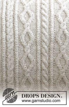 Piece is knitted in DROPS Flora. Jumper Patterns, Crochet Blanket Patterns, Knitting Patterns Free, Free Knitting, Stitch Patterns, Knitted Cushion Covers, Knitted Cushions, Knitted Blankets, Drops Design