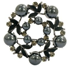 Wreath Brooch in Black with Pearls Brooched. $25.99. 30 Day No Hassle Return Policy. We only sell quality products that look fabulous.. Ships Within 1 Business Day!. Ships in a beautiful gift box