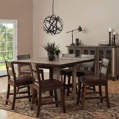 The Thane Rustic Counter Height Dining Table Set Has A Stunning Hand Distressed Multi Color Finish