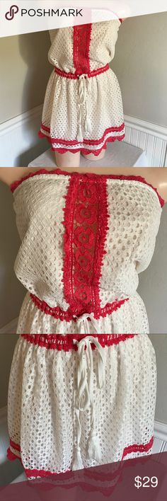 """T.C.E.C. White lace eyelet strapless dress. B094 T.C.E.C. White lace eyelet strapless dress. 100% polyester. Lining 100% rayon. Nice flare. Lightweight fabric. Stretchy waistline and bust line. White and coral colored. Small is 26"""" bust ( stretches up to 32"""") 26""""/32"""" waist 27"""" long💕Medium is 28""""/34"""" bust 28""""/34"""" waist 28"""" long💕💕 Large is 30""""/36"""" bust 30""""/36"""" waist 28"""" long. tcec Dresses Strapless"""