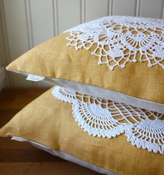 Excellent way to use crocheted doilies that are family heirlooms from great grandmothers and great aunts.