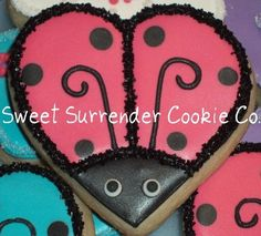 Ladybugs Lovebugs Hot Pink 1 Dozen Decorated Sugar by SSCookieCo, $30.00