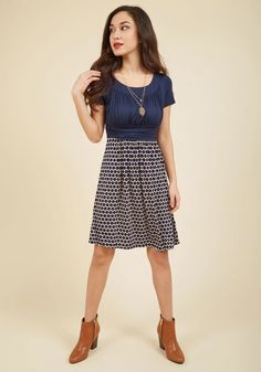 Style Obsession Jersey Dress in Navy Dots - You'll really feel the adoration while wearing this twofer dress! And why? Well, this softly ruched, jersey-knit number is not only one of the most comfortable frocks you'll own, it's also simply elegant - with navy and cream hues and a dotted design - and impressively versatile!