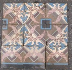 14,4, x 14,4 cm, Germany. Mesa Bonita has been collecting hydraulic tiles for the past 10 years. All the tiles have been saved from the city dumpsters and desperately need a second life. They can be turned into a pretty table, console, nightstand, frame, trivet, coaster… Contact me for information, I have a wide selection of styles and colors and a whole bunch of ideas: Benedicte Bodard  Mesa Bonita/Barcelona Tiles benedictebodard@gmail.com www.mesabonita.es…