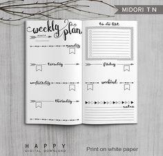 Printable Weekly Planner Midori Weekly por HappyDigitalDownload