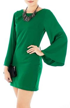 Mini Emerald Green Dress with bell sleeves