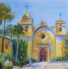 """CARMEL MISSION"" - Original Fine Art  - © CECILIA ROSSLEE"