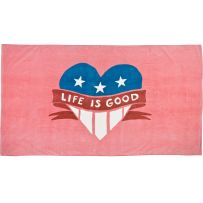 Beach Towel Patrotic Heart, Fresh Pink  # Life is Good  # Do what you like