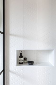 It's all in the detail.Monastir White Matt Chevrons looking pretty smart 🖤🖤 Upstairs Bathrooms, Laundry In Bathroom, Bathroom Renos, Bathroom Flooring, Small Bathroom, Master Bathroom, Washroom, Bathroom Renovations, Bathroom Ideas