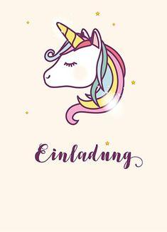 einhorn einladungen  karten zum ausdrucken | einladung leny | unicorn, unicorn party und kids