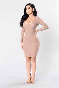 - Available in Charcoal and Taupe - Long Sleeve - Ribbed Detail - Choker Neck - Mini Dress - Made in USA - 95% Polyester 5% Spandex
