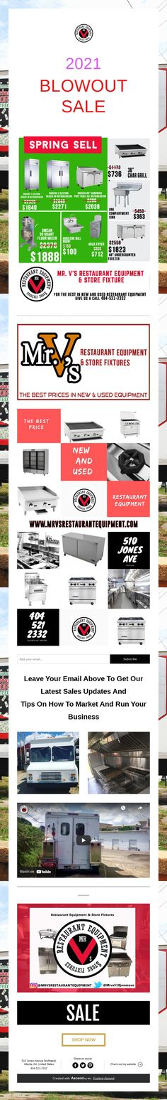 2021 BLOWOUT SALE Used Restaurant Equipment, Business Sales, Marketing, Tips, Counseling