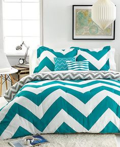 Chevron Teal 4 Piece Twin Comforter Set | chevron is in and a good pattern for men or women