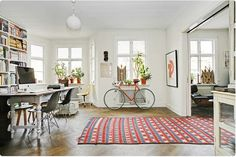 like the windows, rug and bike
