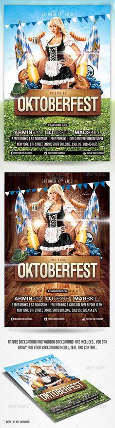 Oktoberfest Party Flyer Template PSD - Holidays Events