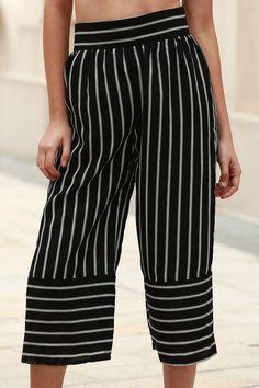 Stripe High Waist Wide Leg Capri Pants WHITE AND BLACK: Pants | ZAFUL