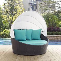 Convene Turquoise Fabric PE Rattan Outdoor Patio Canopy Daybed Daybed Canopy, Patio Daybed, Outdoor Daybed, Patio Canopy, Outdoor Furniture, Outdoor Decor, Outdoor Sectional, Outdoor Living, Outdoor Ideas