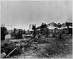 Wreckage in the Naval Hospital grounds