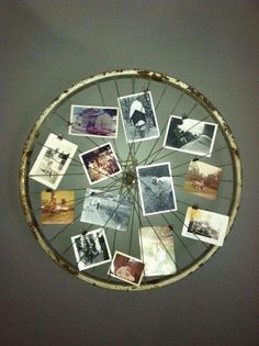 Photos on an old bicycle wheel. For the wall.