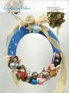 Adorno puerta - Porcelana Fría Diy Nativity, Christmas Nativity, Noel Christmas, A Christmas Story, Christmas Wreaths, Christmas Decorations, Christmas Ornaments, Diy And Crafts, Christmas Crafts