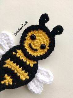 Free Crochet Patterns: Appliques – Bees   Natalina Craft