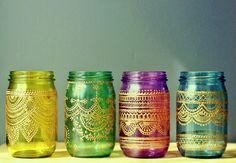 Gift Set of 4 Moroccan Style Mason Jar Lanterns Jewel by LITdecor, $98.00
