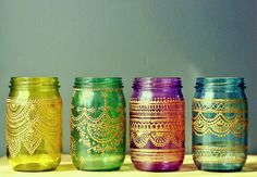 Set of 4 Moroccan Style Mason Jar Lanterns, Jewel Toned Glass with Gold Detailing