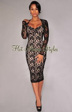 5bcf8bf1dcb9 Black Lace Nude Illusion Long Sleeves Padded Midi Dress