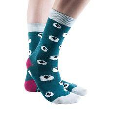 Woolly Sheep women's soft bamboo crew socks in moss Silly Socks, Cool Socks, Ankle Socks, Women's Socks, Novelty Socks, Bamboo, That Look, Sheep, Shopping