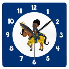 Princess and pony cartoon Clock