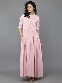 Pink Khadi Dress with Gathers