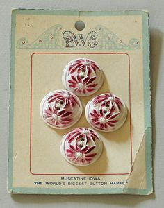 Vintage Floral Red and White Buttons on card