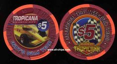 #AtlanticCityCasinoChip of the day is a $5 TRopicana Memorial Day 1998 Indy's 82nd Year. #CasinoChip #Tropicana https://www.all-chips.com/ChipDetail.php?ChipID=3337