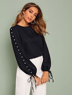To find out about the Pearls Beaded Sleeve Knot Cuff Top at SHEIN, part of our latest Blouses ready to shop online today! Girly Outfits, Fashion Outfits, Plus Zise, Stylish Dresses For Girls, Blouse Designs, Types Of Sleeves, Blouses For Women, Clothes, Top 14