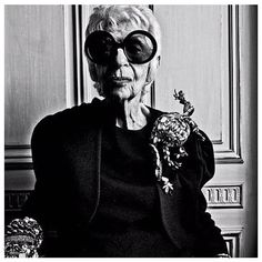 """Iris Apfel // """"I'm a hopeless romantic. I buy things because I fall in love with them. I never buy anything just because it's valuable. My husband used to say I look at a piece of fabric and listen to the threads. It tells me a story. It sings me a song. I have to get a physical reaction when I buy something...a bolt of lightning."""""""