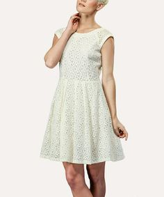 Look what I found on #zulily! Cream Eyelet Cap-Sleeve Dress - Women by Amelia #zulilyfinds