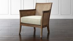 This chair would work great in the family room. Blake Grey Wash Chair with Fabric Cushion | Crate and Barrel