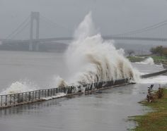 Hurricane Sandy hits New York City  Waves slam the coast of Gravesend Bay hours before Sandy has even made landfall on Oct. 29, 2012.