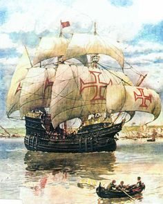 Da Gama's style of ship. Significantly, his ships were armed with cannon, which greatly aided his appropriation of trade goods. To navigate the Indian Ocean, however, he needed local pilots.