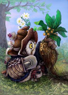 Owl herbalist by napluvayka.deviantart.com on @deviantART