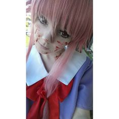 I took yesterday some photos of my Yuno Gasai cosplay I will upload some of them during these days #yuno #gasai #mirai #nikki #yunogasai #miranikki #cosplay #anime #manga #yandere #pinkhair #japan #costume #gore #wig #eyelenses #makeup #pale #girl #cute #kawaii #pinkeyes #schooluniform #japaneseuniform #cutegirl #smile #animecosplay
