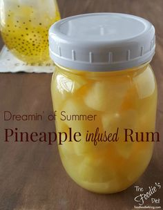 Pineapple Infused Rum -. Fill a container with pineapple chunks. Top with rum, making sure to cover pineapple completely.  Let marinate in a cool dark spot for 2-3 weeks.