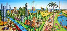 naive paintings primitive art naife landscape tel aviv beach painting rapahel…